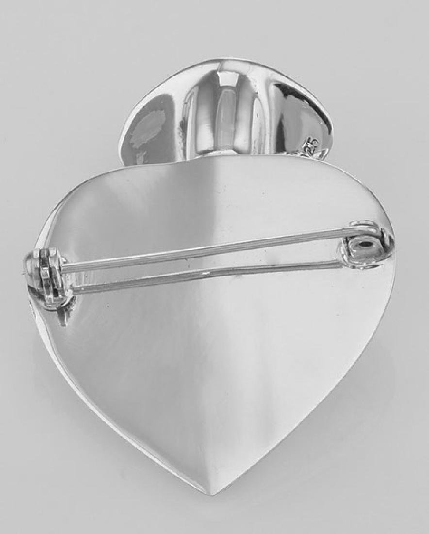Victorian Style Repousse Heart Vase Pin - Sterling Silv - 3