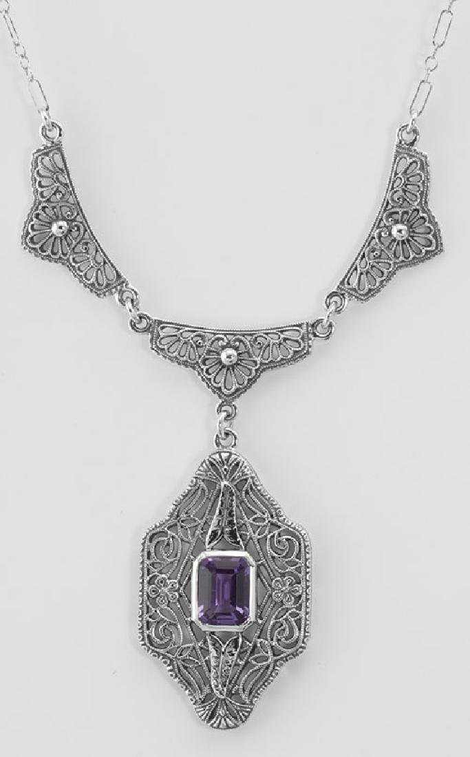 Victorian Style Floral Amethyst Filigree 19 in. Necklac