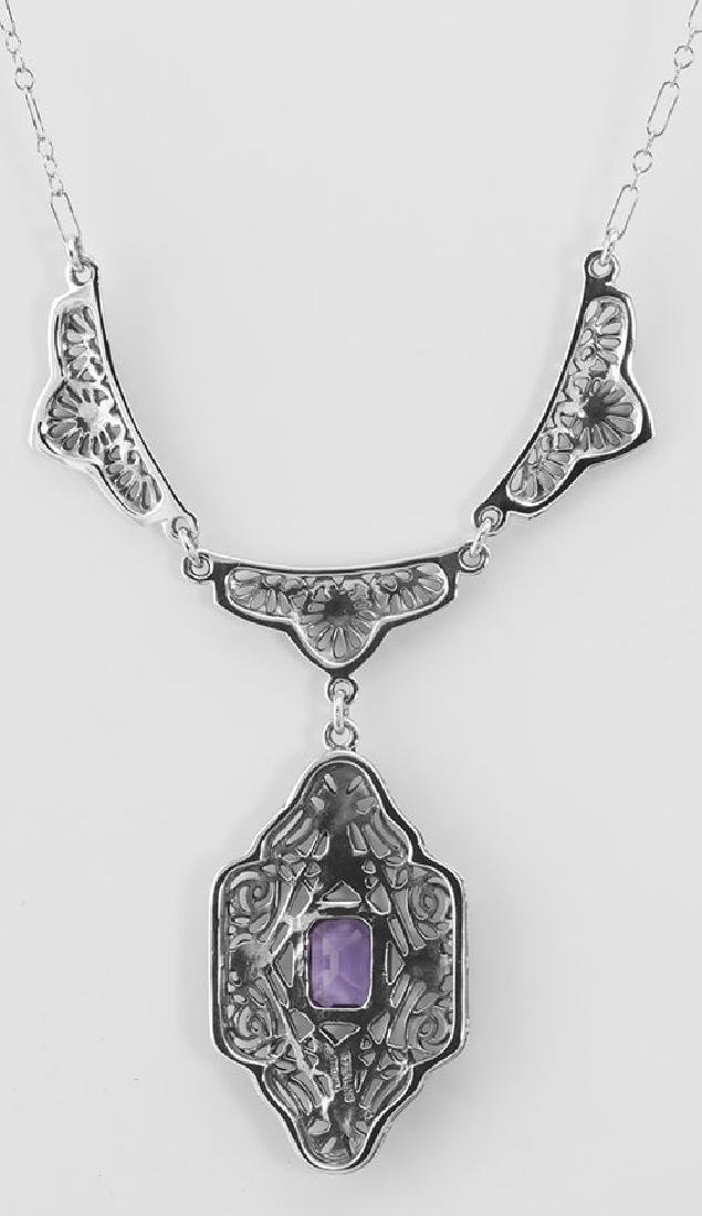 Victorian Style Floral Amethyst Filigree 19 in. Necklac - 2