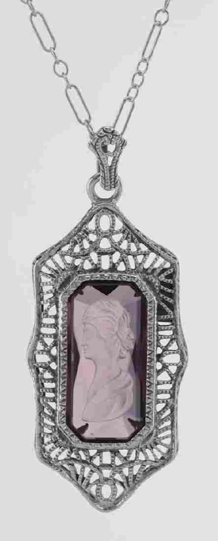 Roman Style Amethyst Crystal Intaglio Filigree Pendant
