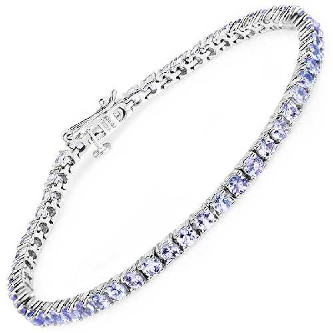 5.30 CTW Genuine Tanzanite 14K White Gold Bracelet