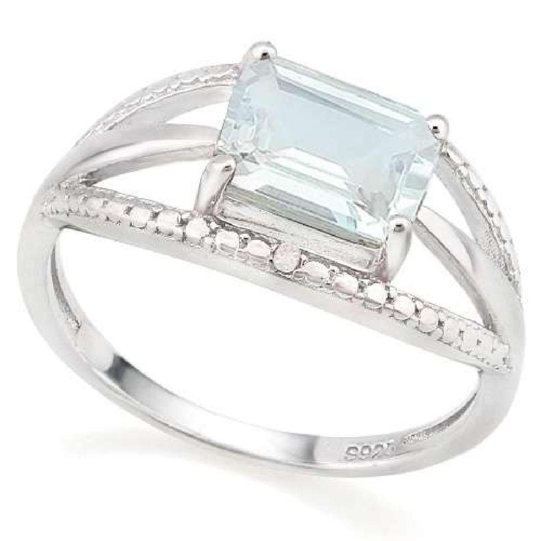 1 2/3 CTW AQUAMARINE & GENUINE DIAMONDS 925 STERLING SI