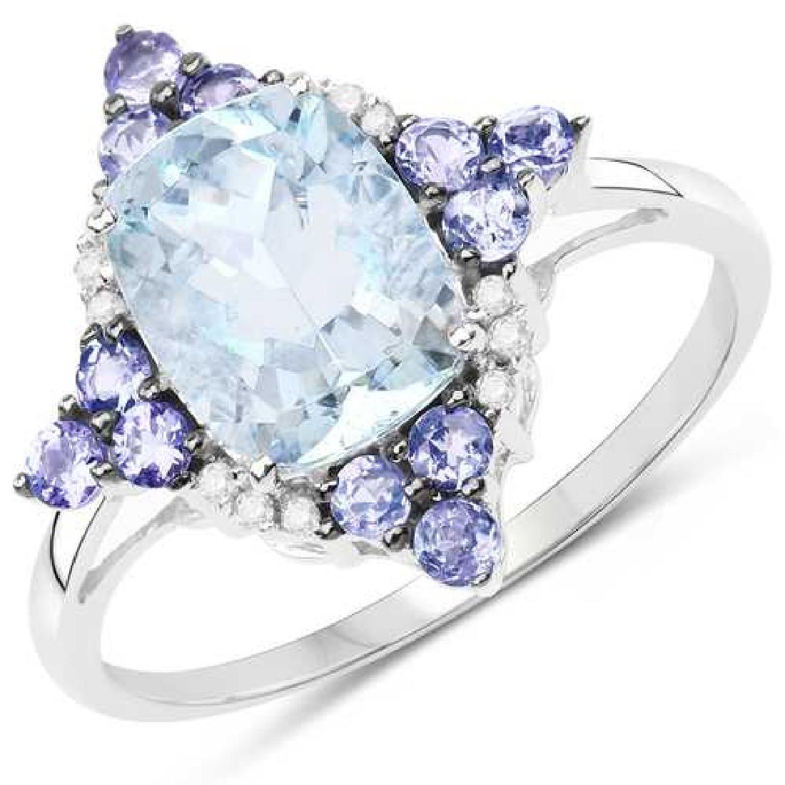 2.25 CTW Genuine Aquamarine Tanzanite and White Diamond