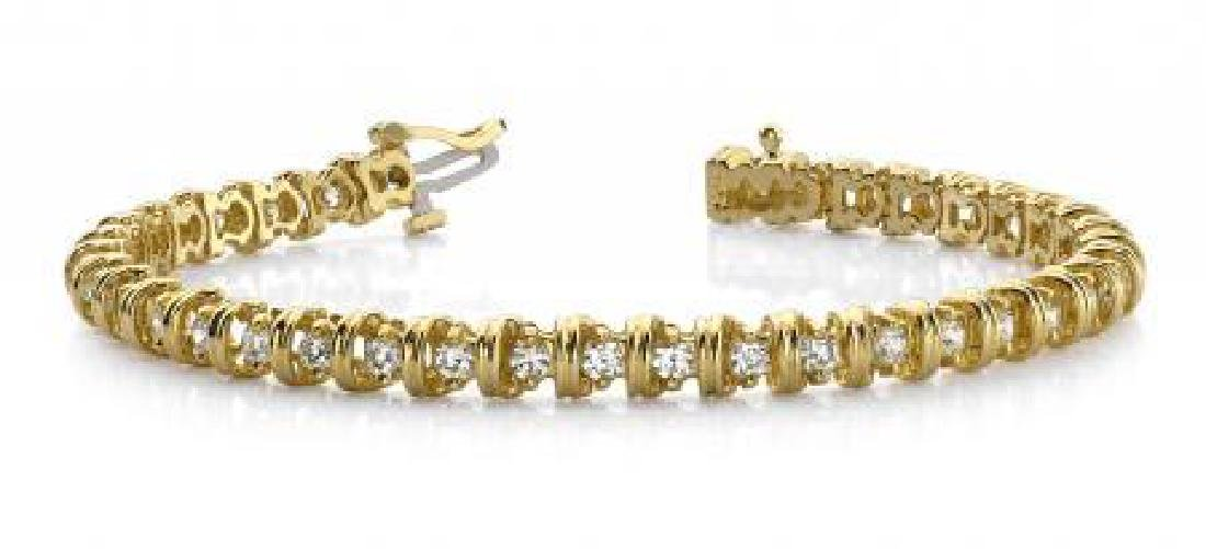 14KT YELLOW GOLD 1 CTW G-H SI2/SI3 WIDE LINK DIAMOND TE