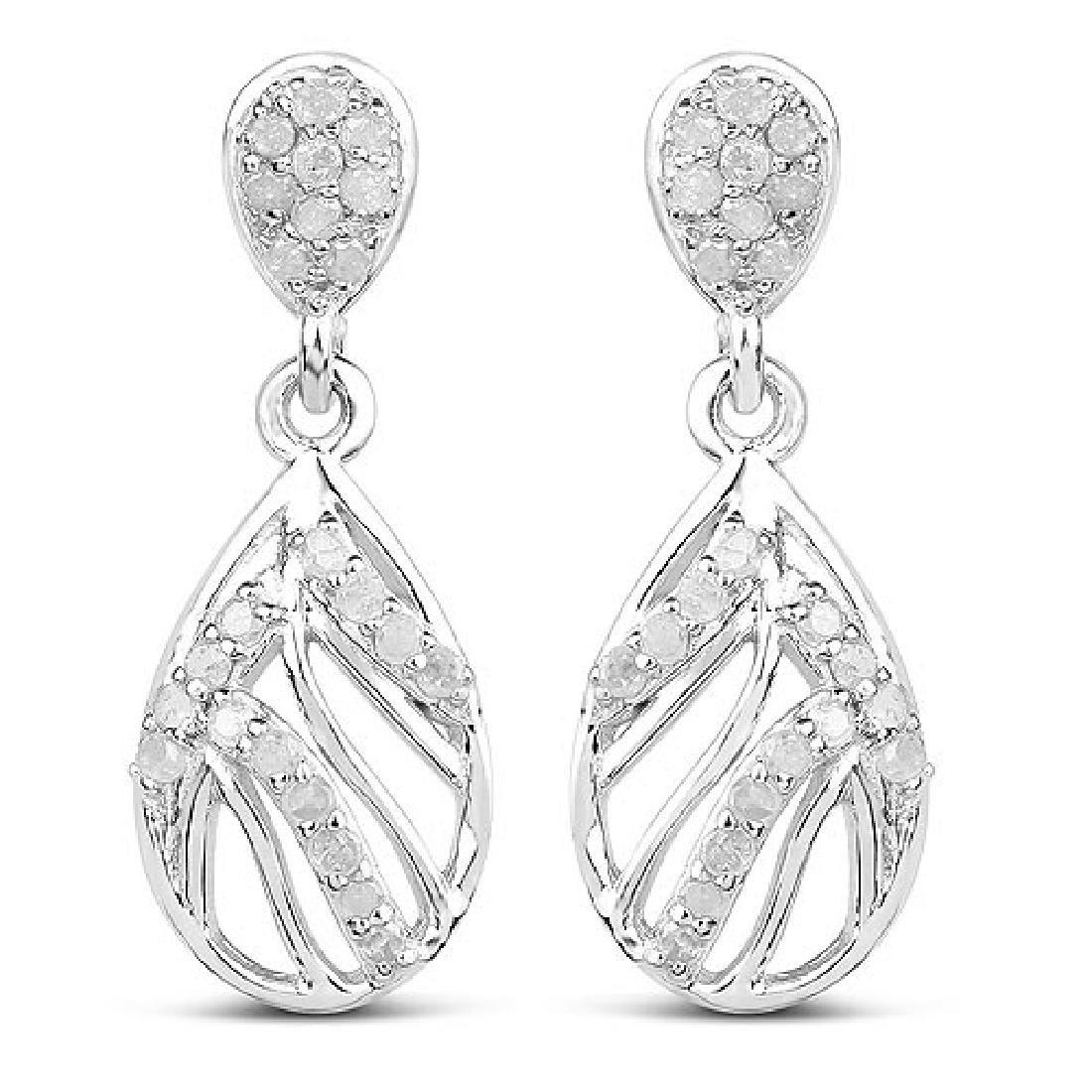 0.49 Carat Genuine White Diamond .925 Sterling Silver E