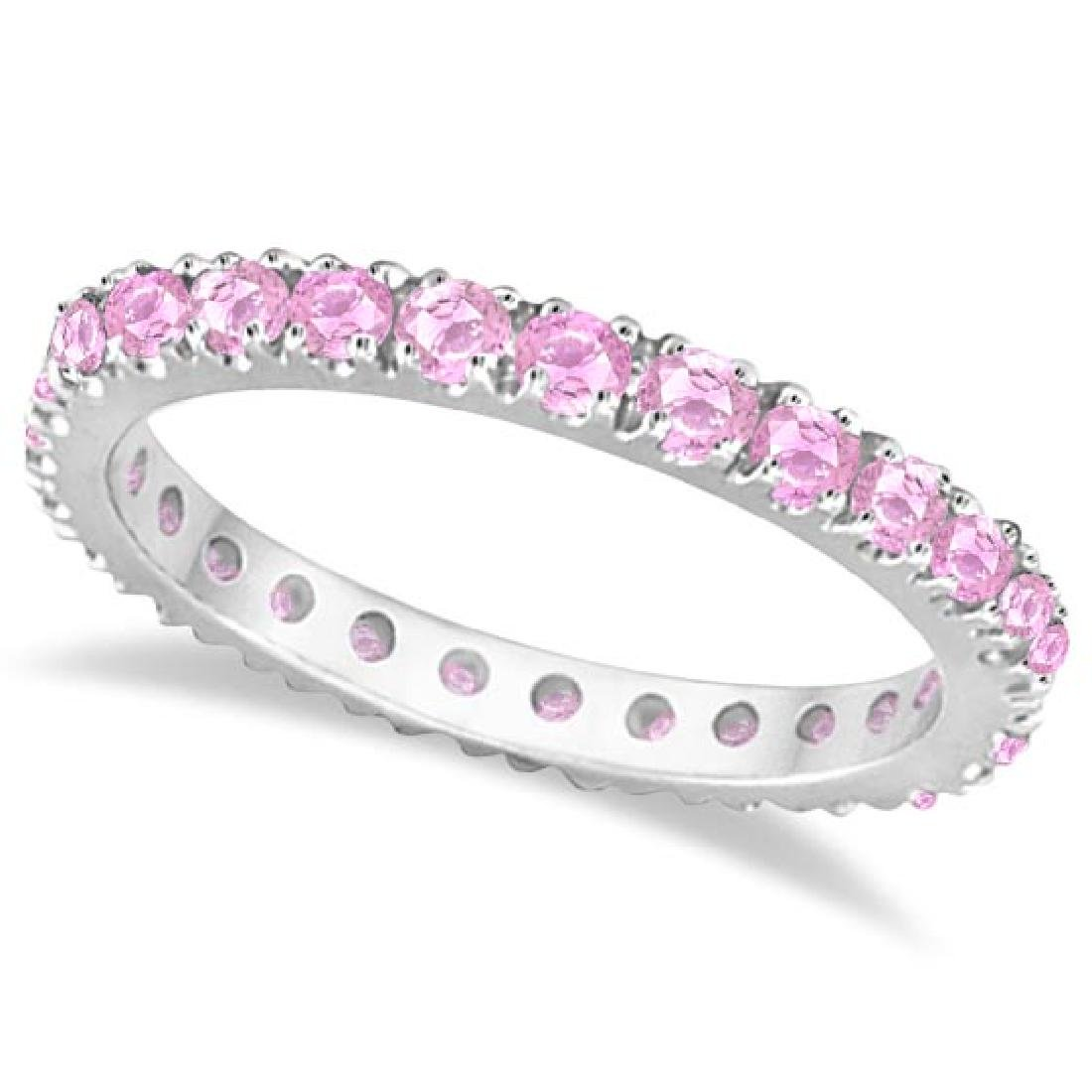 Pink Sapphire Eternity Ring Stackable Band 14k White Go