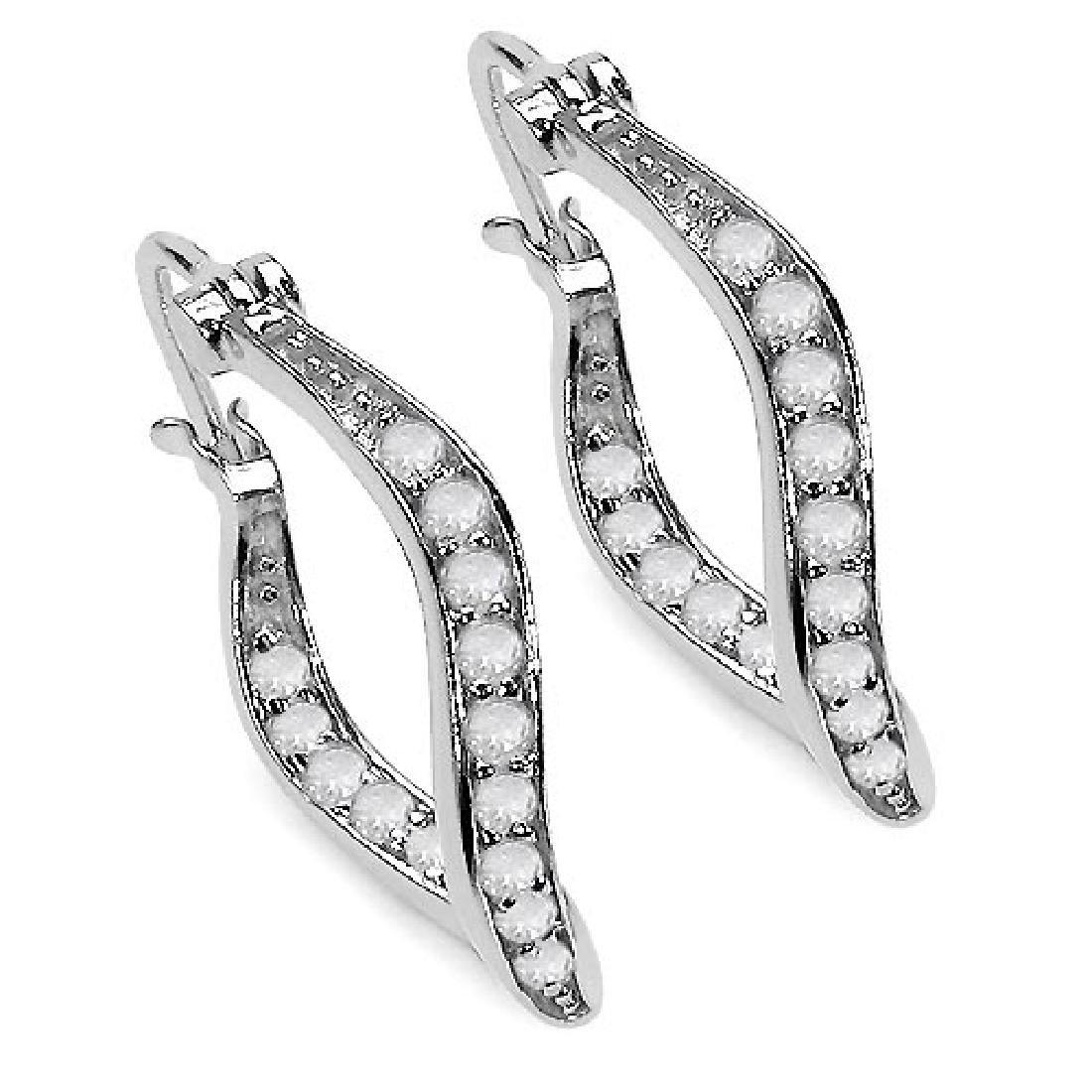 0.48 Carat Genuine White Diamond .925 Sterling Silver E