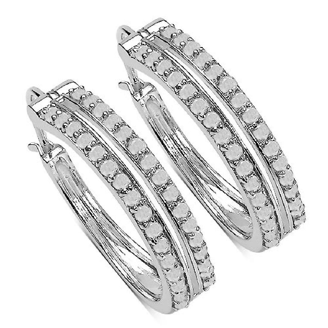 0.96 Carat Genuine White Diamond .925 Sterling Silver E