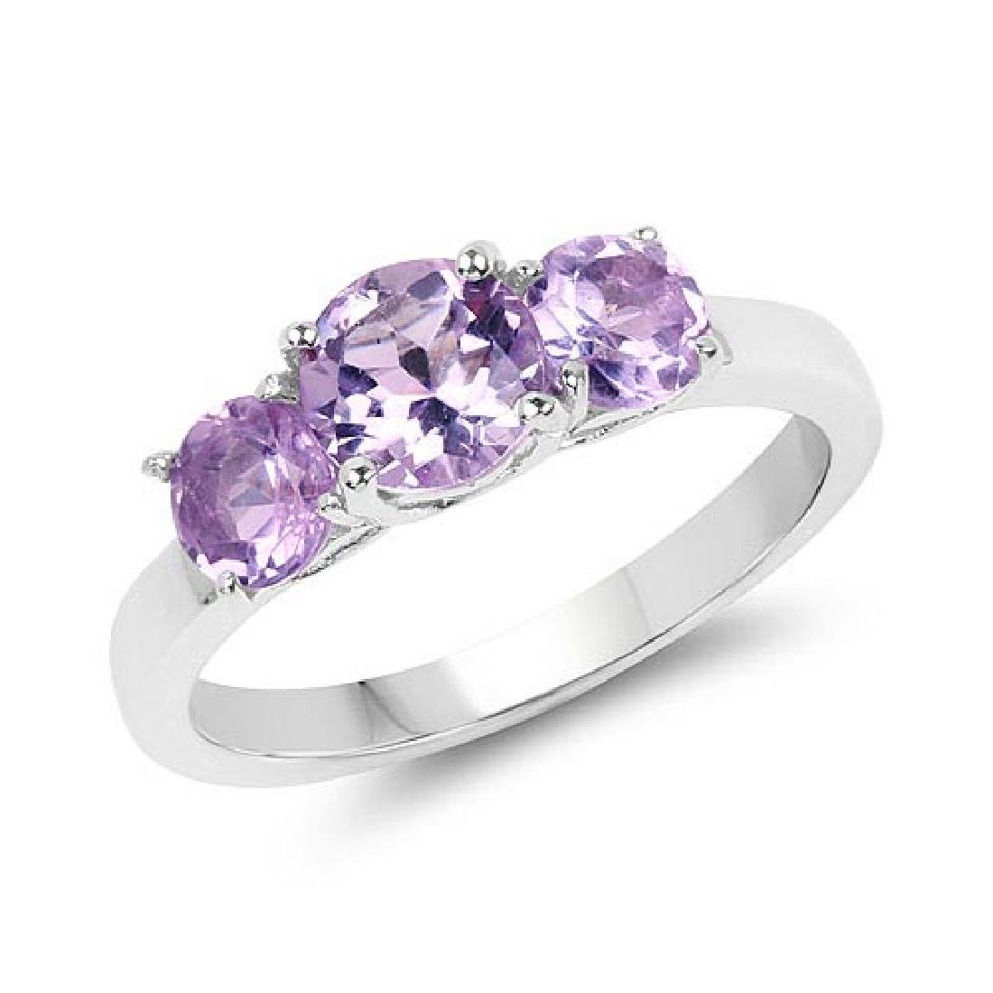 1.63 Carat Genuine Amethyst .925 Sterling Silver Ring
