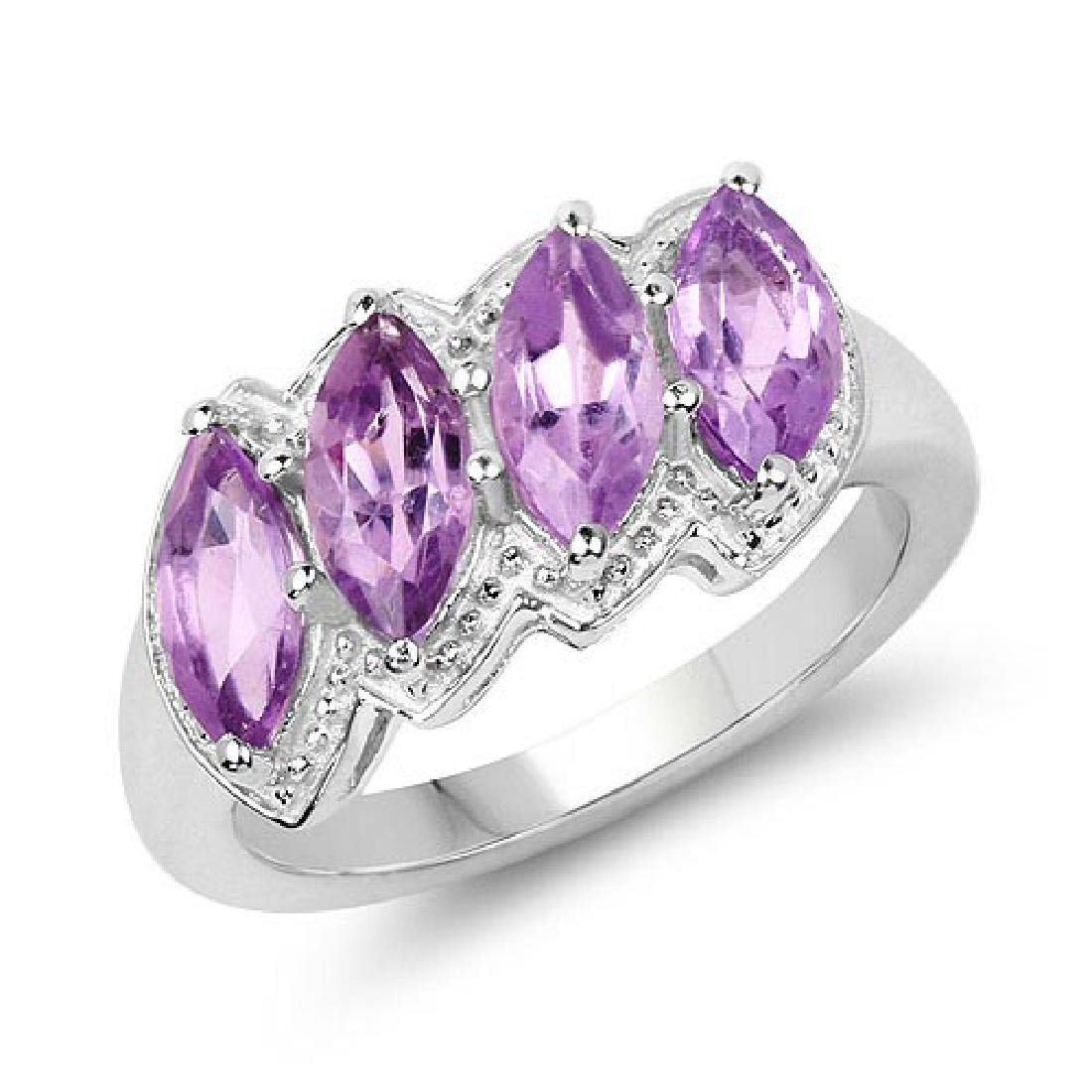 2.12 Carat Genuine Amethyst .925 Sterling Silver Ring