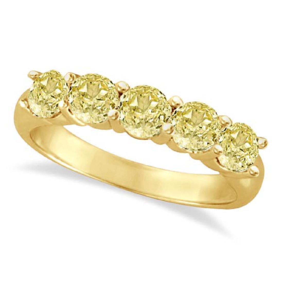 Five Stone Fancy Yellow Canary Diamond Anniversary Ring