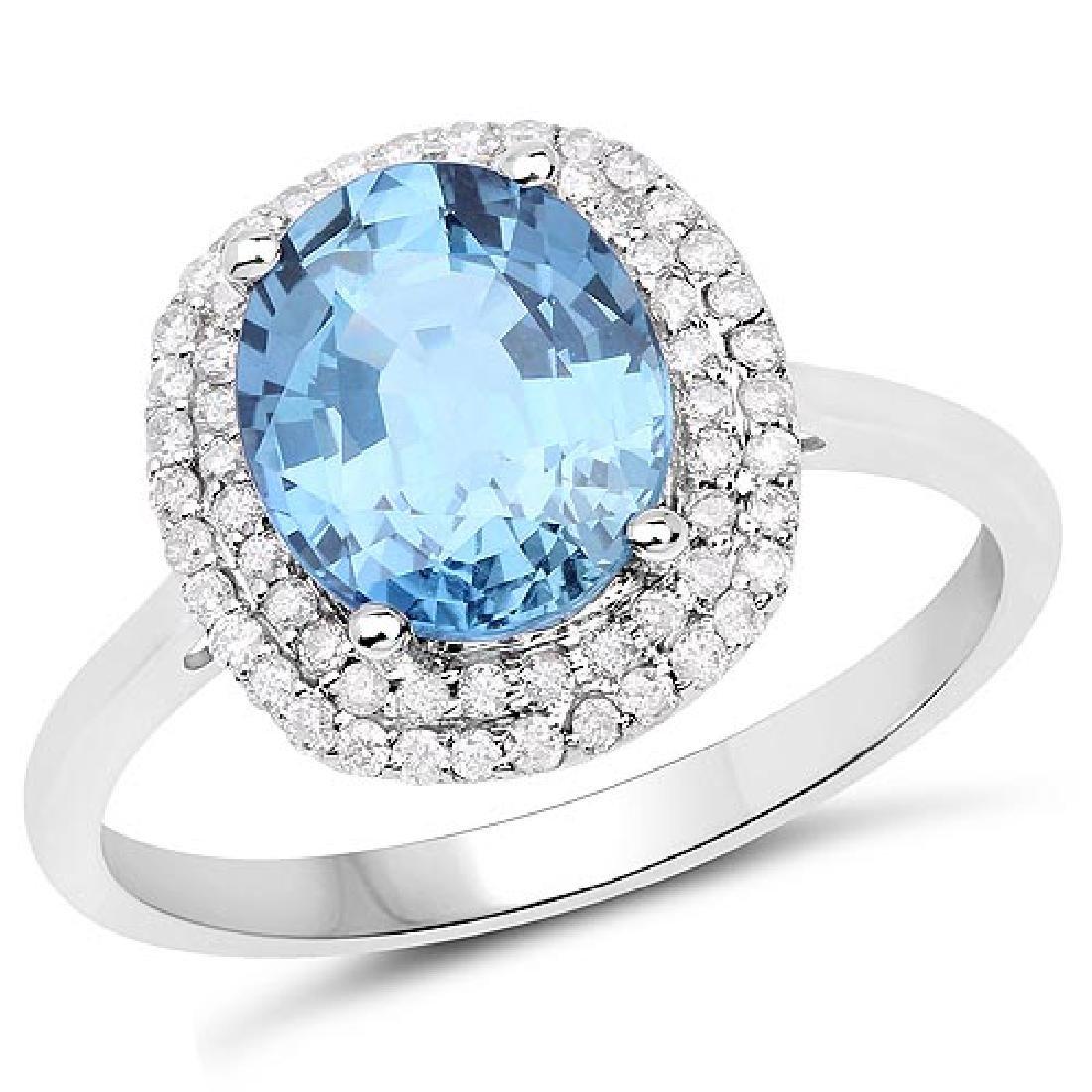 2.52 Carat Genuine Blue Sapphire and White Diamond 14K