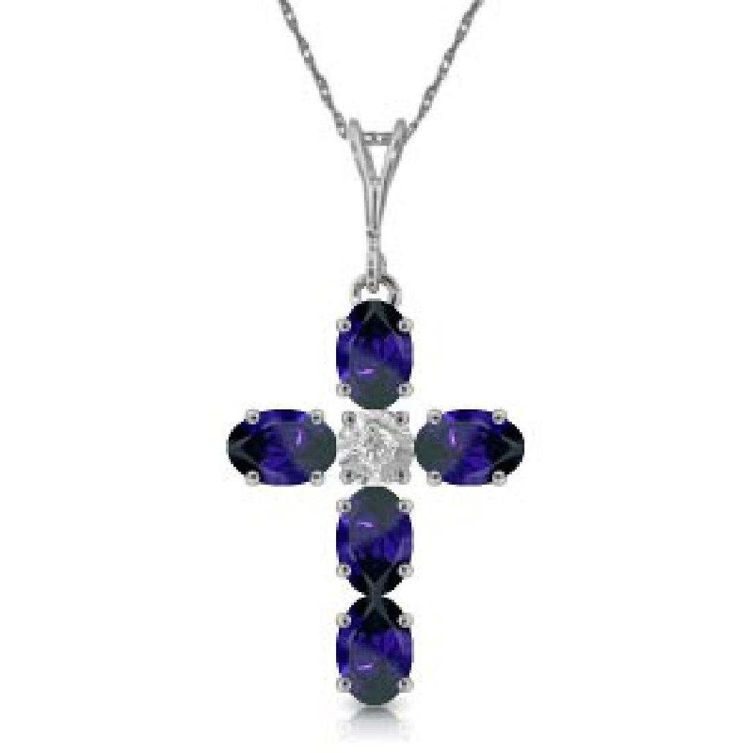 1.88 CTW 14K Solid White Gold Cross Necklace Natural Di