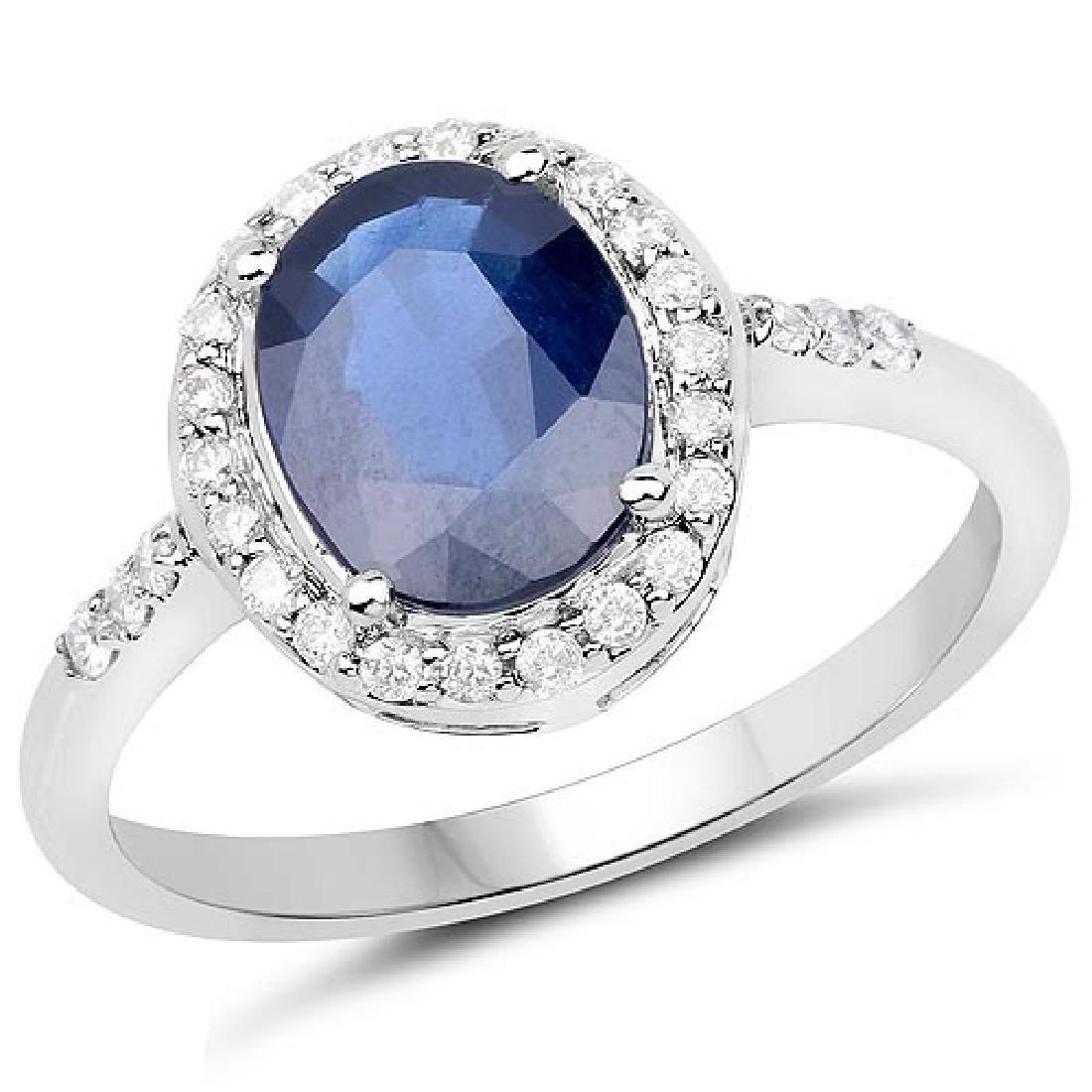 2.46 Carat Genuine Blue Sapphire and White Diamond 14K