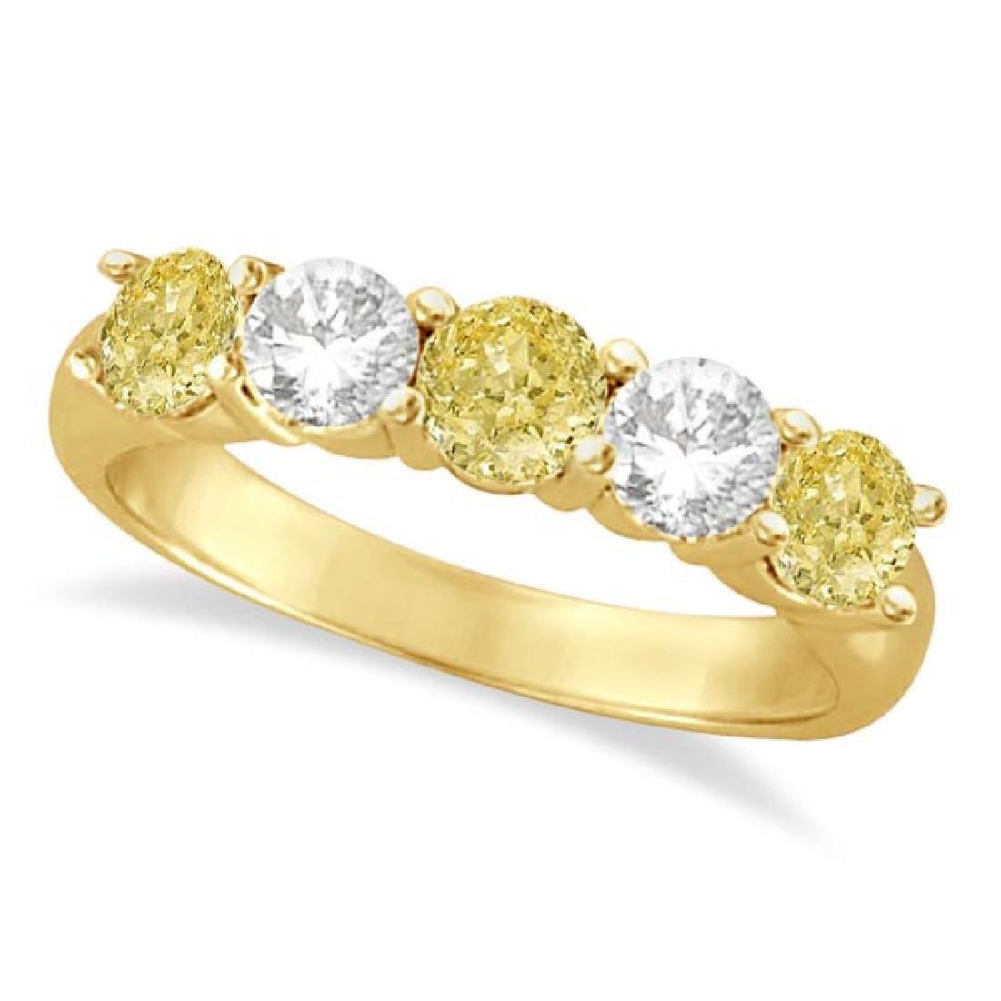 Five Stone White and Fancy Yellow Diamond Ring 14k Yell
