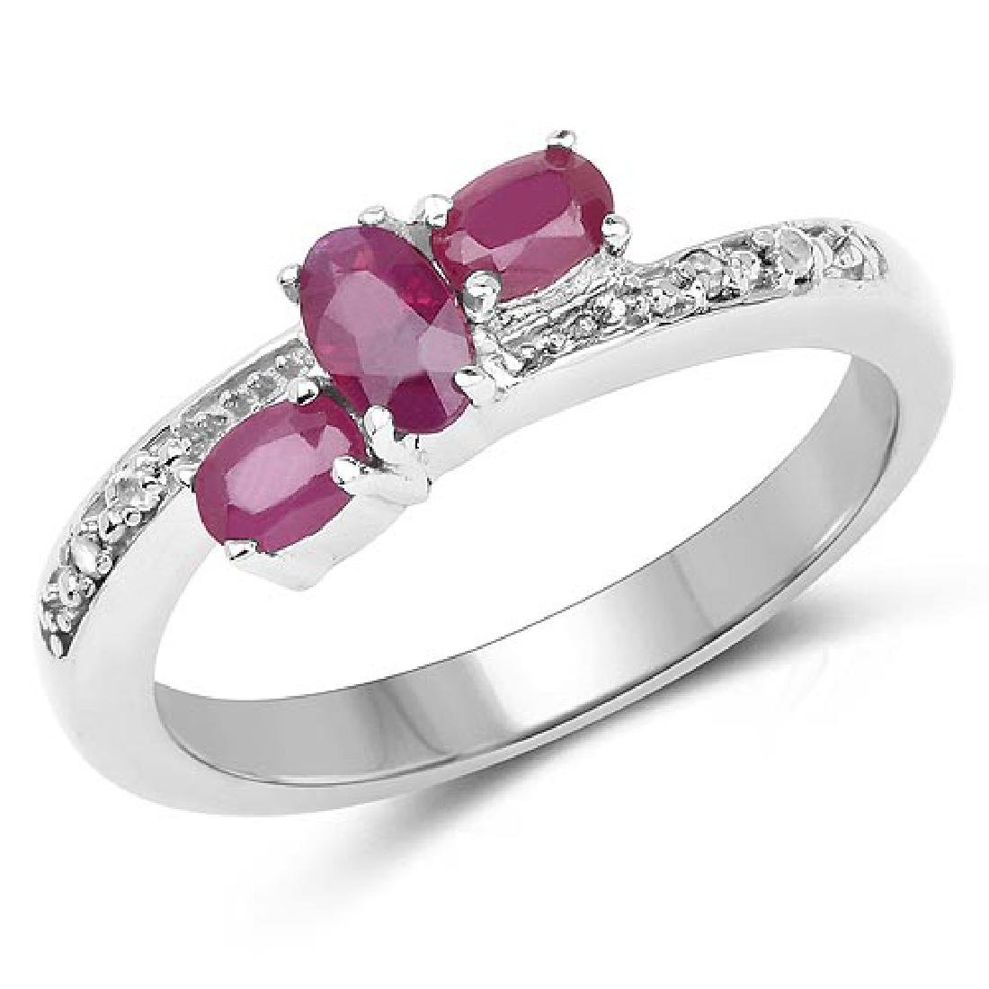 0.73 Carat Genuine Ruby and White Diamond .925 Sterling