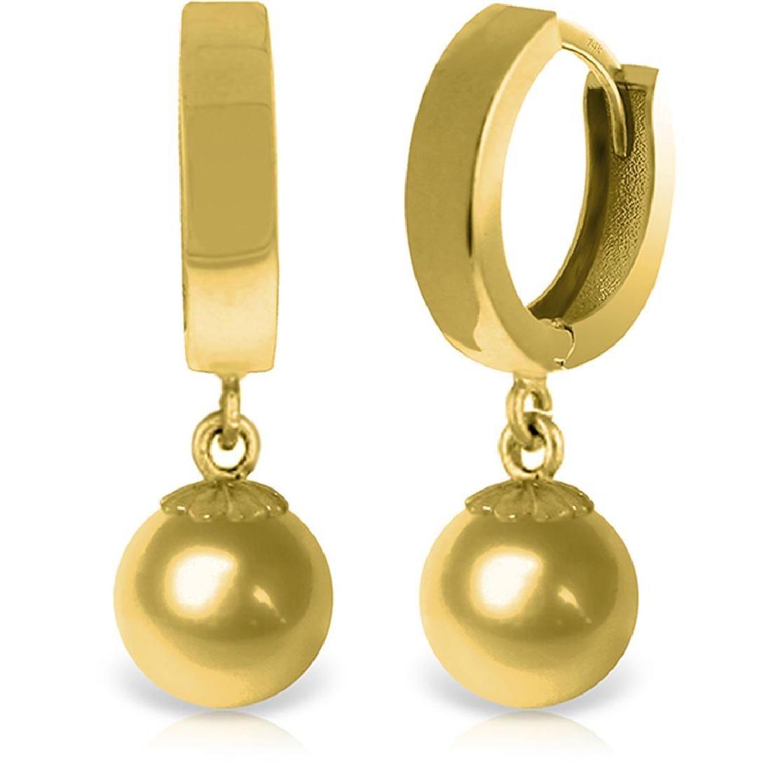 14K Solid Gold Balldrop Dangling Earrings
