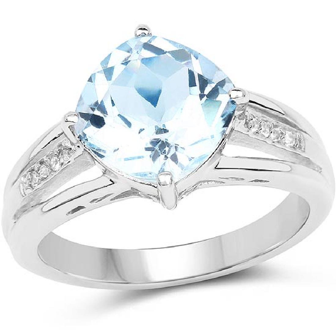 3.04 Carat Genuine Blue Topaz and White Topaz .925 Ster