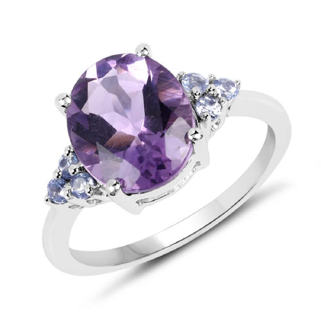 3.41 Carat Genuine Amethyst and Tanzanite .925 Sterling