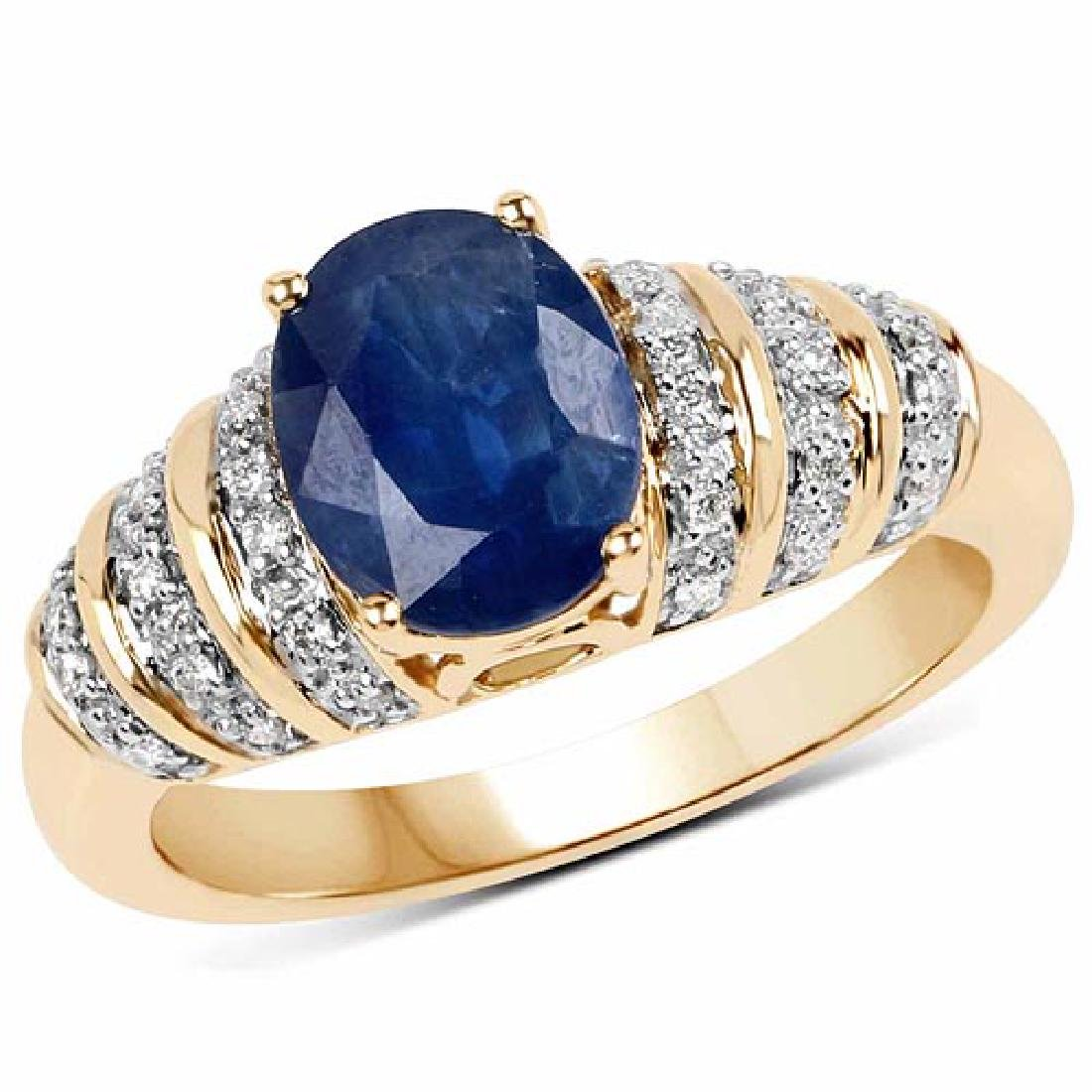 2.11 Carat Genuine Blue Sapphire and White Diamond 14K
