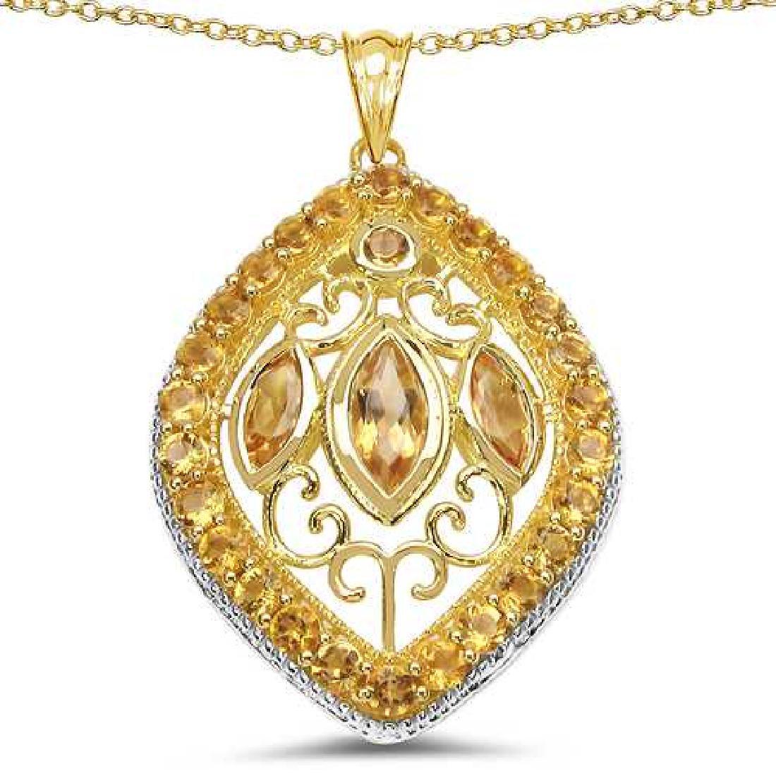 18K Yellow Gold Plated 4.63 Carat Genuine Citrine .925