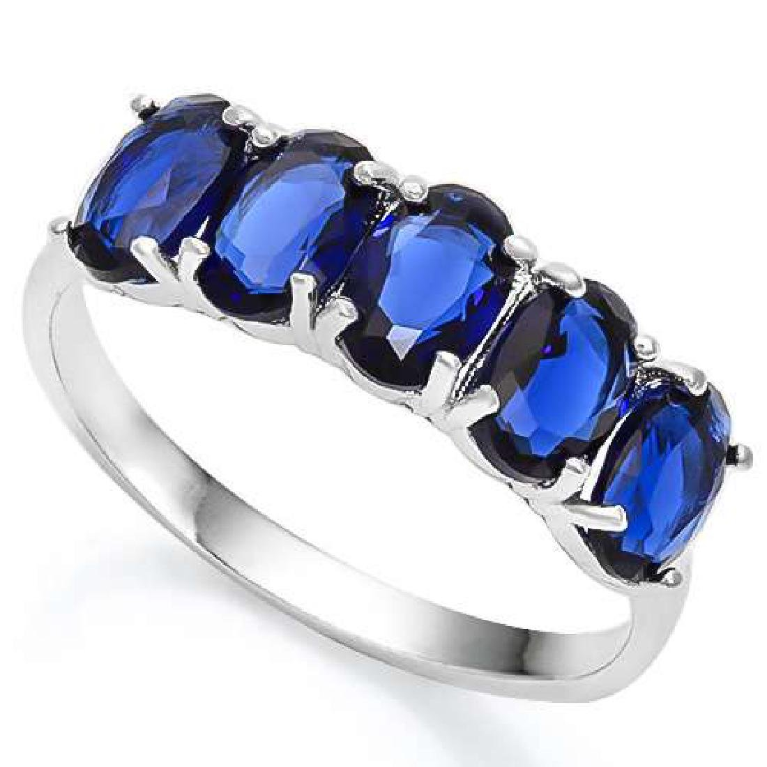 2.00 CTW CREATED BLUE SAPPHIRE 925 STERLING SILVER RING