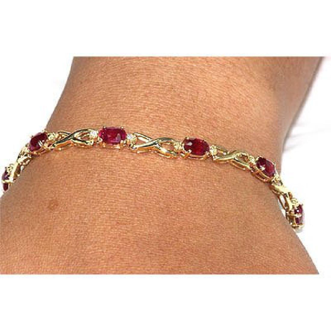 Genuine Ruby6.02Ctw Diamond Bracelet 14K