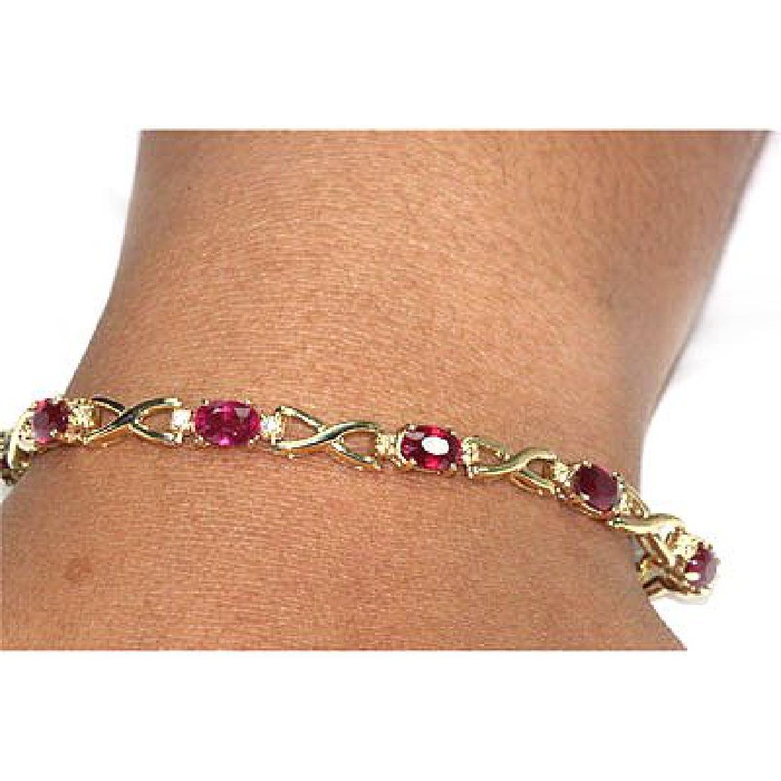 Genuine Ruby6.02Ctw Diamond Bracelet 14K - 2
