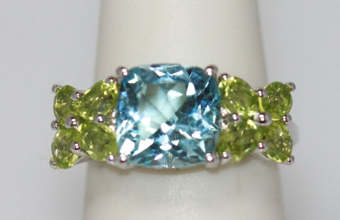 2.90 CTW Blue Topaz and peridot Ring .925 Sterling Silv