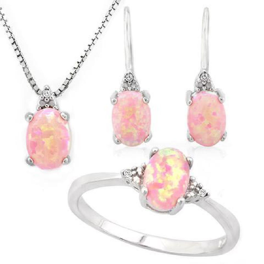 1 4/5 CARAT CREATED PINK FIRE OPAL  (15 PCS) DIAMOND 92