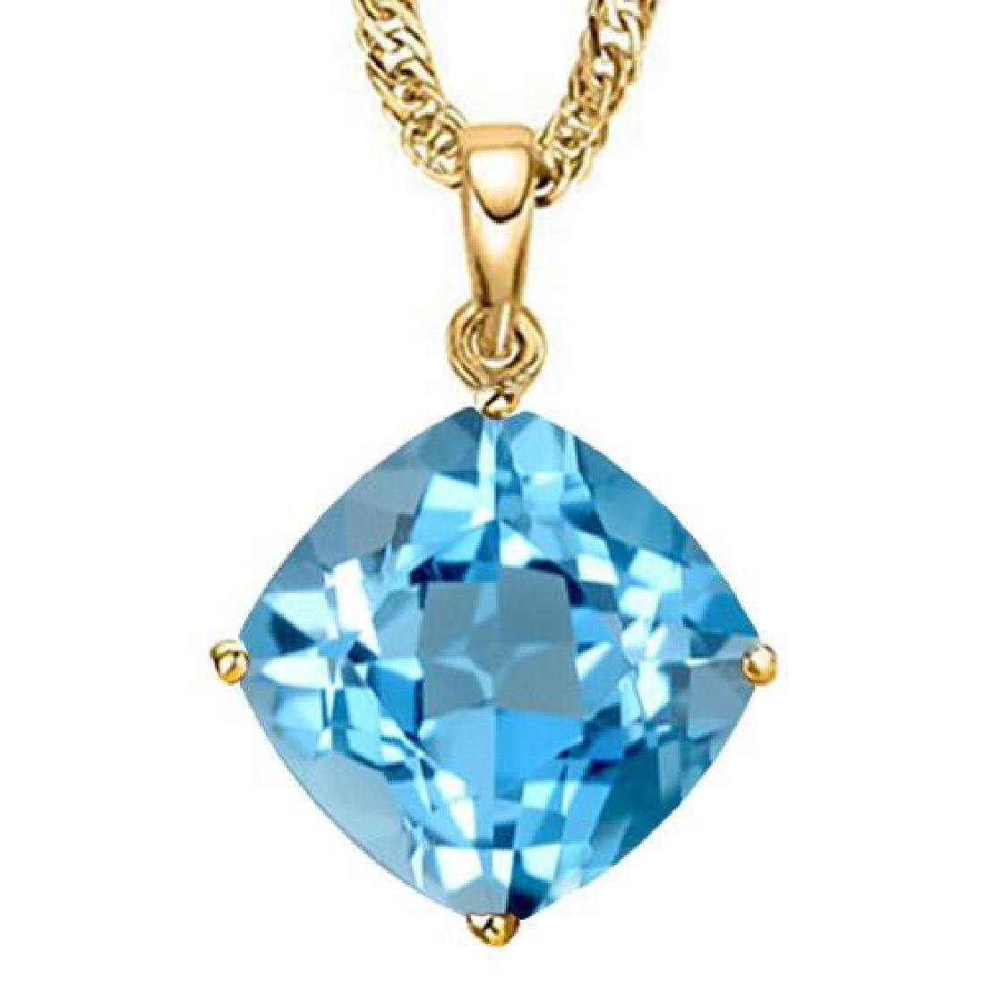 1.3 CTW SKY BLUE TOPAZ 10K SOLID YELLOW GOLD CUSHION SH
