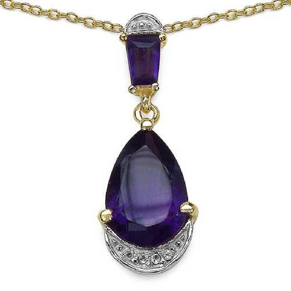 14K Yellow Gold Plated 2.82 Carat Genuine Amethyst & Wh