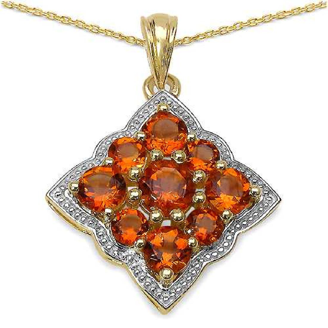 14K Yellow Gold Plated 3.90 Carat Genuine Citrine .925