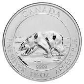 2013 Canadian Silver $8 Polar Bear 1.5 Ounces
