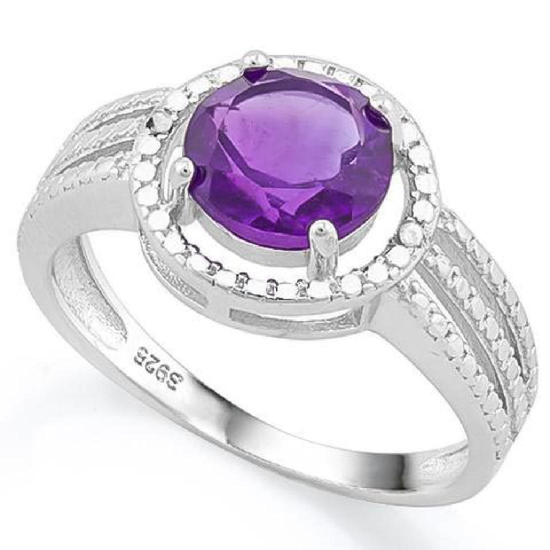 1 4/5 CARAT AMETHYST  DIAMOND 925 STERLING SILVER RING