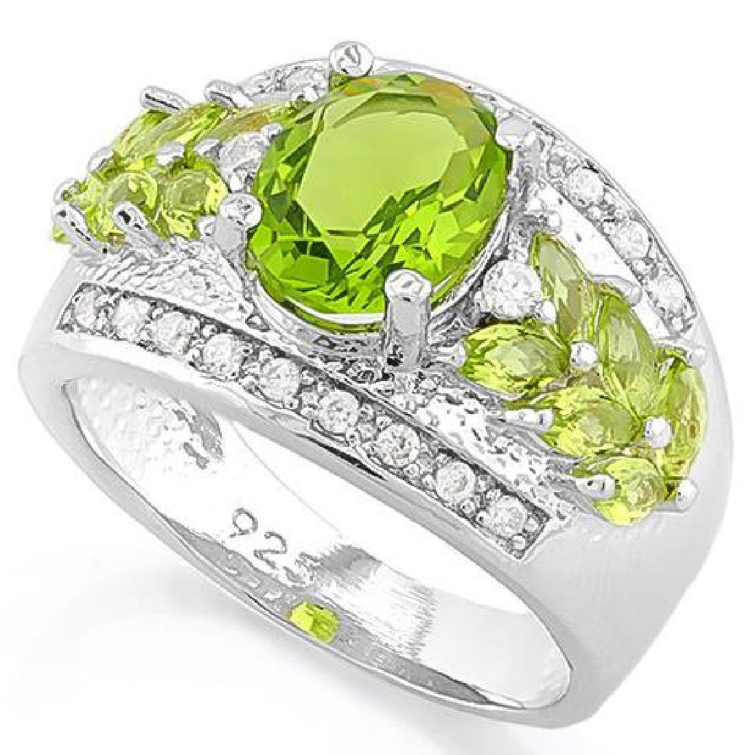 CREATED PERIDOT 925 STERLING SILVER RING