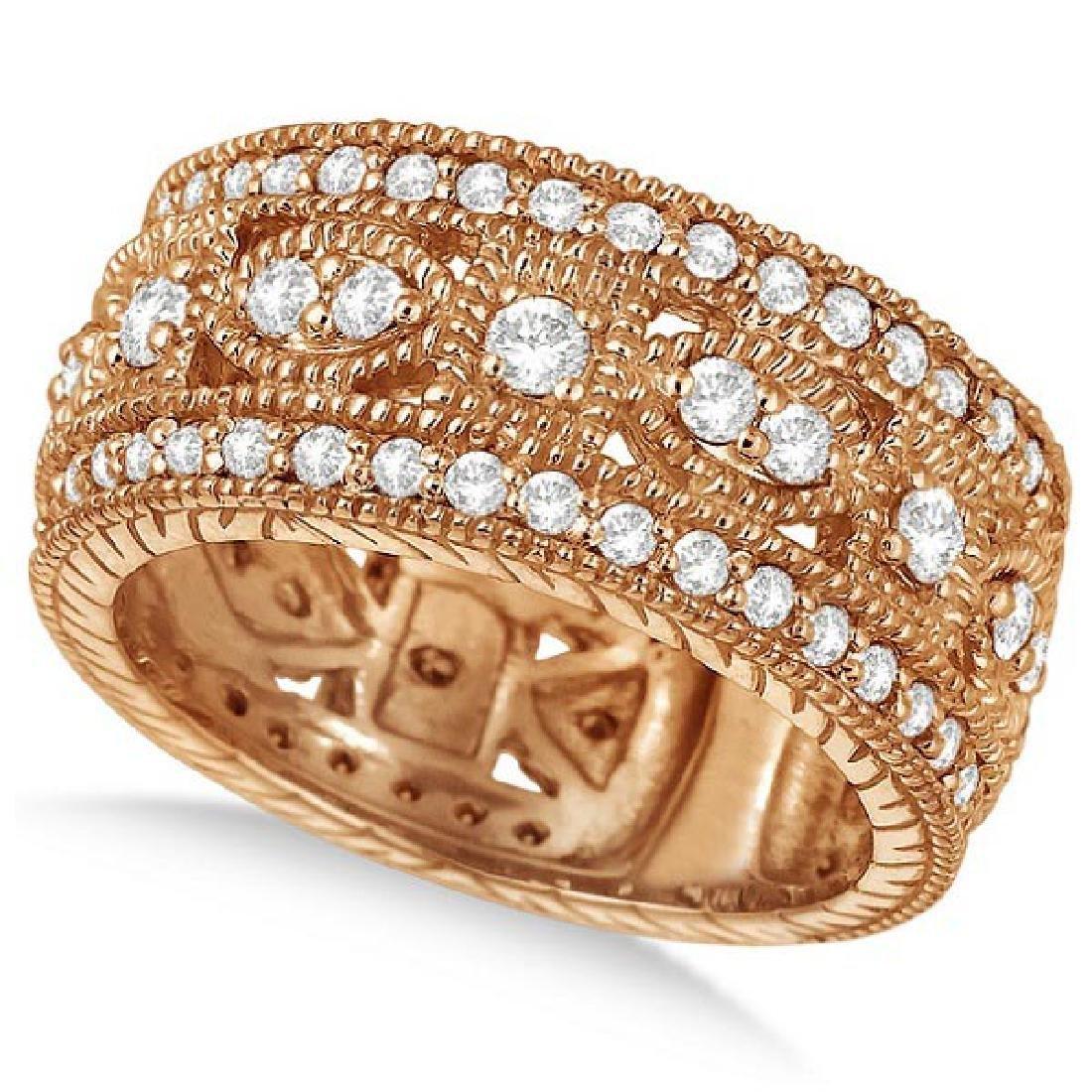 Vintage Style Byzantine Wide Band Diamond Ring 14k Rose