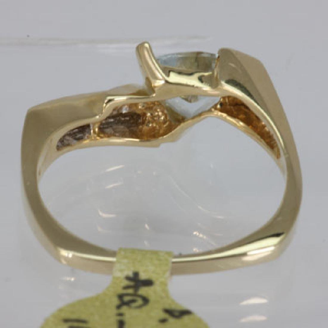 Genuine  0.98 ctw  Aquamarine Ring  14KT Yellow Gold - 3