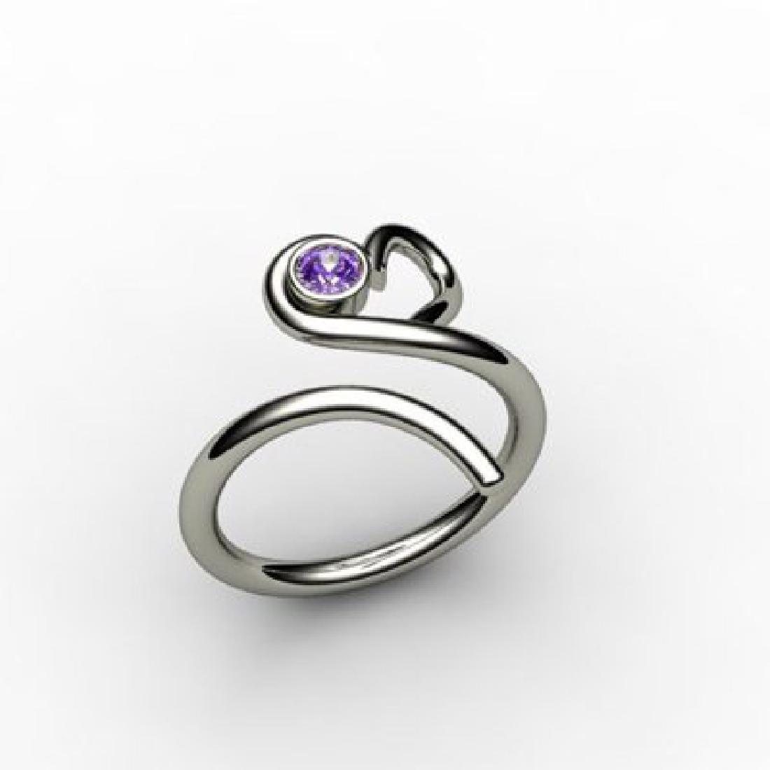 Amethyst  0.10 ctw Heart Design Ring 18kt W/Y Gold