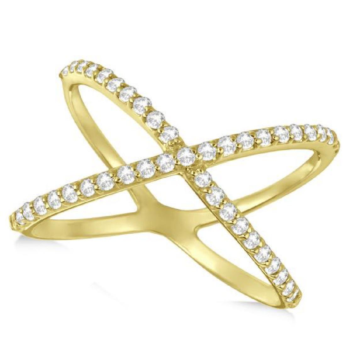 X Shaped Ring with Diamonds Abstract Design 14k Yellow