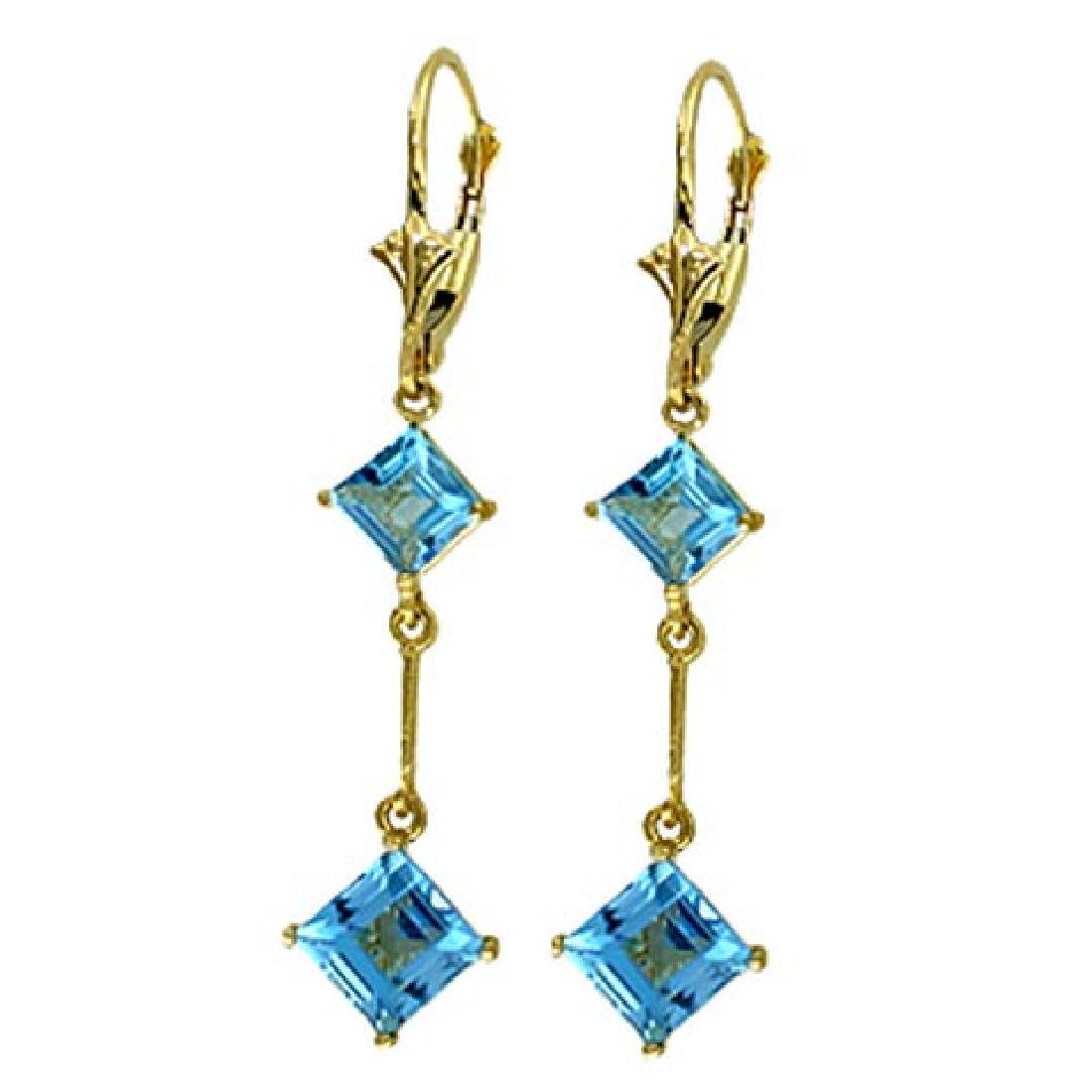 14K Solid White Gold Leverback Earrings with Blue Topaz - 2