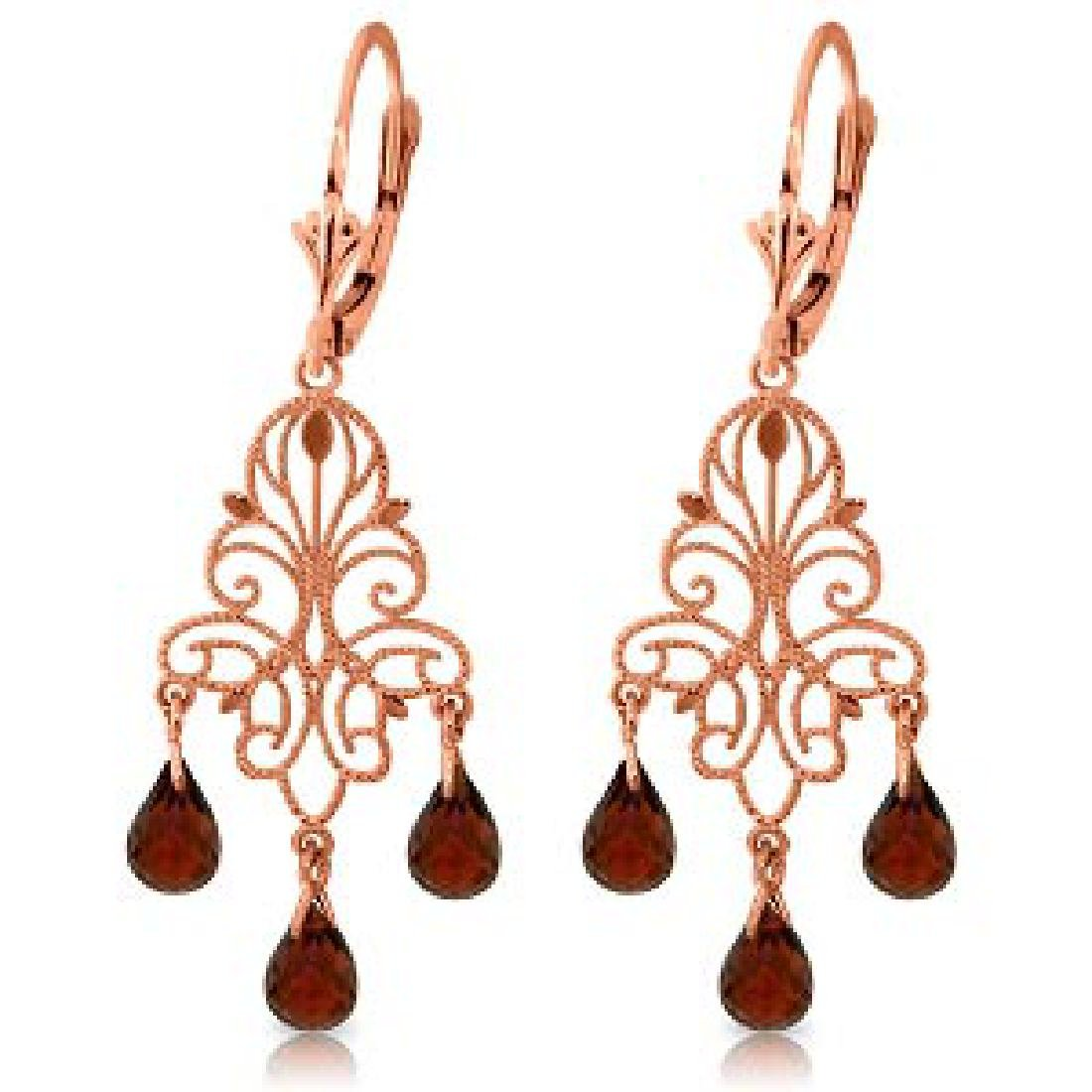 3.75 Carat 14K Solid Rose Gold Chandelier Earrings Natu