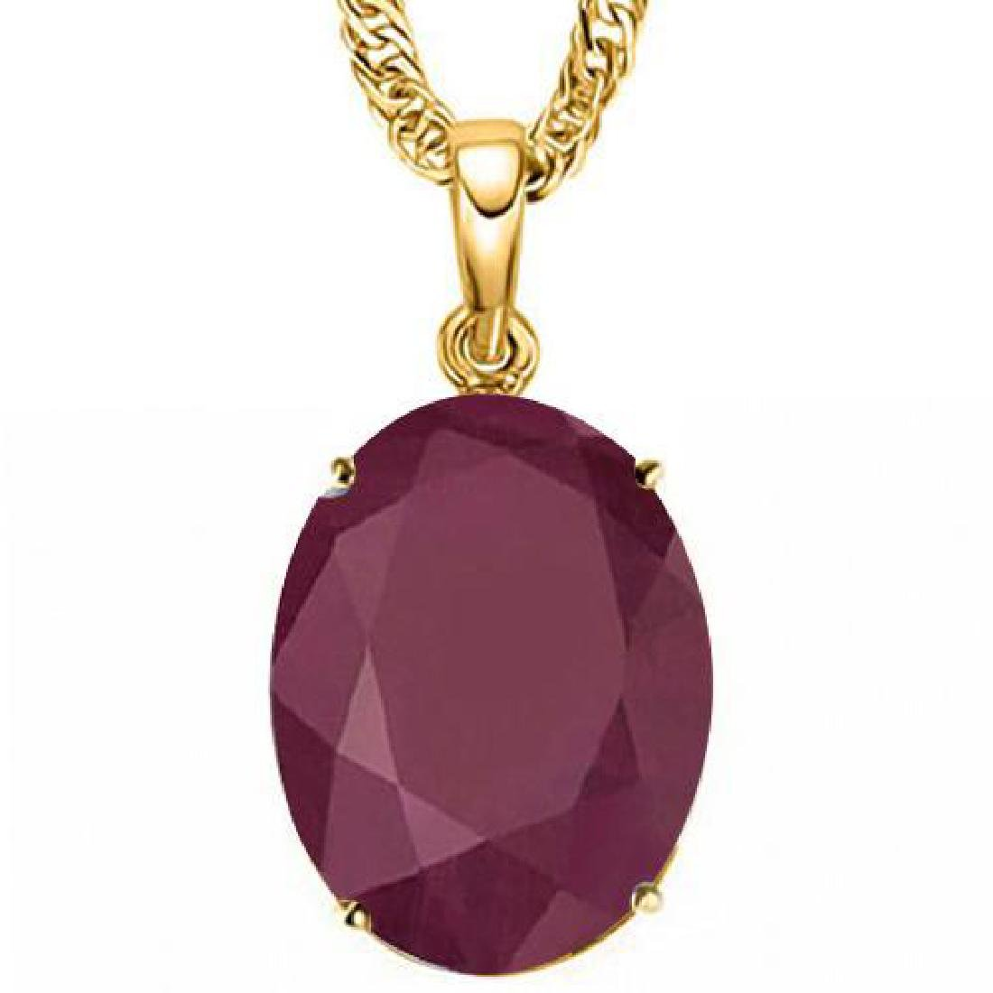 0.95 CTW RUBY 10K SOLID YELLOW GOLD OVAL SHAPE PENDANT