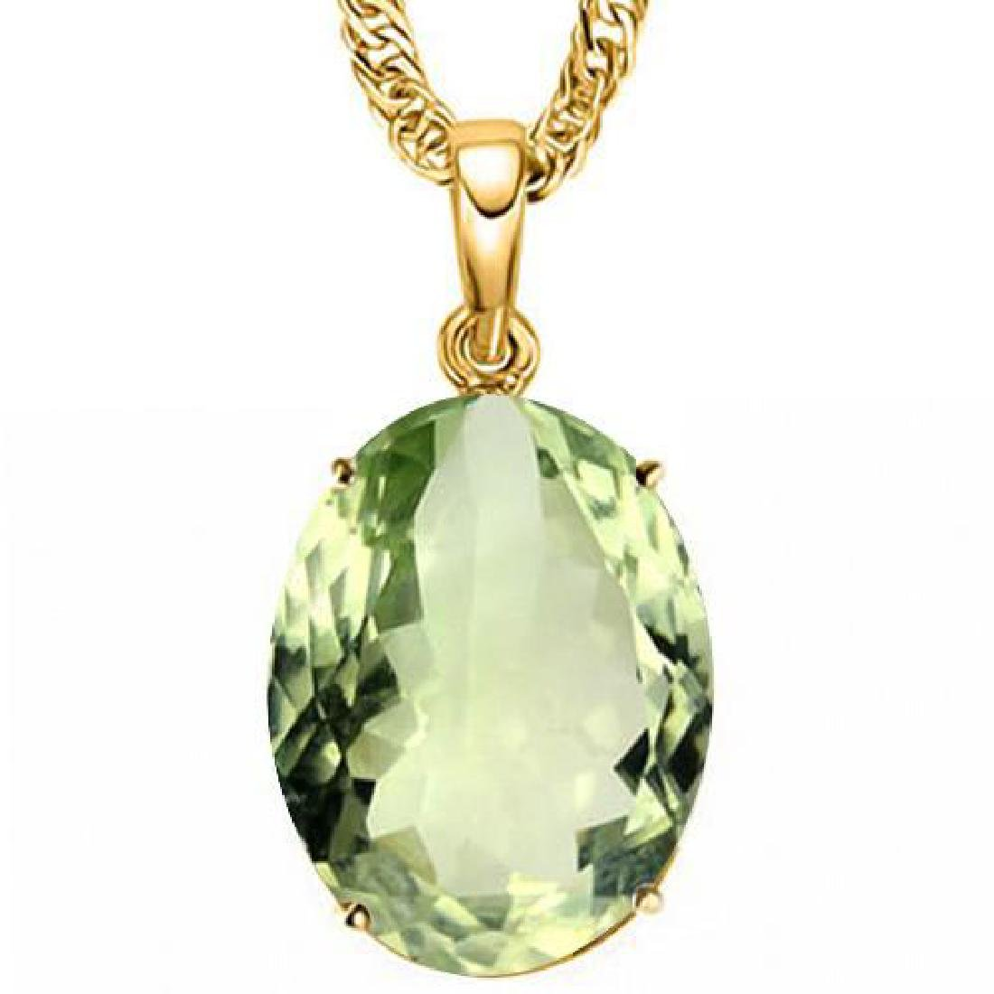 0.7 CTW GREEN AMETHYST 10K SOLID YELLOW GOLD OVAL SHAPE
