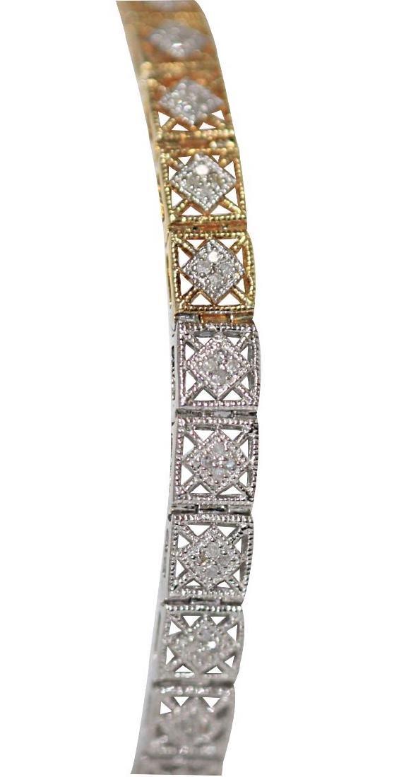 0.70 CTW DIAMOND BRACELET GOLD PLATED .925 STERLING SIL
