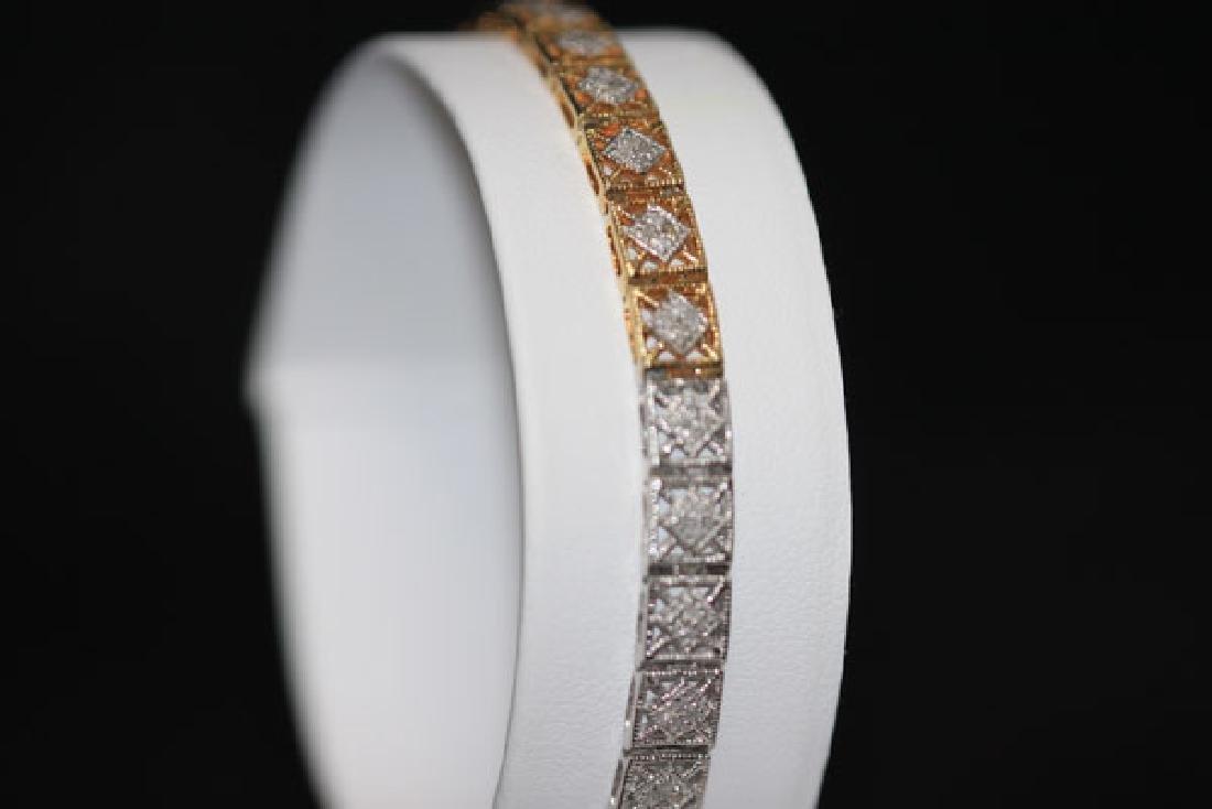 0.70 CTW DIAMOND BRACELET GOLD PLATED .925 STERLING SIL - 2