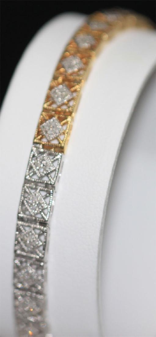0.70 CTW DIAMOND BRACELET GOLD PLATED .925 STERLING SIL - 3