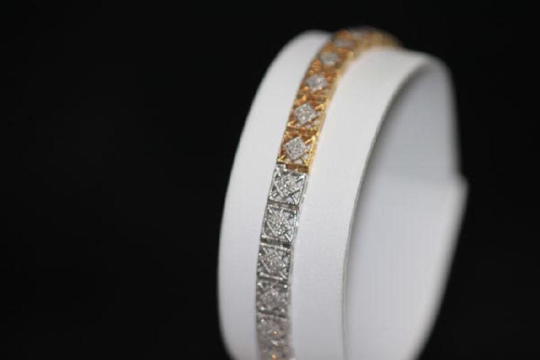 0.70 CTW DIAMOND BRACELET GOLD PLATED .925 STERLING SIL - 4
