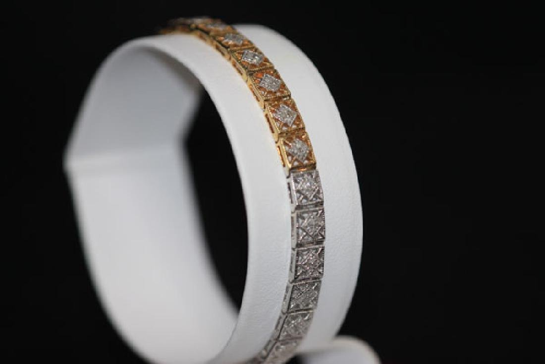 0.70 CTW DIAMOND BRACELET GOLD PLATED .925 STERLING SIL - 5