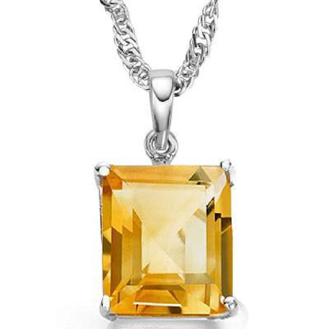 0.9 CTW CITRINE 10K SOLID WHITE GOLD SQUARE SHAPE PENDA